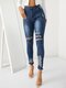 Ripped Denim Front Button Bodycon Casual Jeans With Pocket - Blue