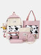 4 PCS Canvas Preppy Cow Pattern Multifunction Combination Bag Tote Backpack Crossbody Clutch Wallet - Coffee