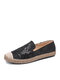 SIKETU Women Casual Sequined Flowers Pattern Embroidery Comfortable Wearable Espadrille Boat Shoes - Black