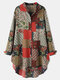 Vintage Ethnic Floral Print Patchwork Button Curved Hem Casual Blouse - Red