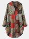 Vintage Ethnic Print Patchwork Button Curved Hem Casual Bluse für Damen - rot
