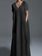 Casual Solid Color Plus Size Maxi Dress for Women - Black
