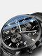 Business Full Steel Men Quartz Wristwatch Waterproof Date Clock Men Watch - Black Dial Black Leather Band
