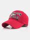 पुरुष कढ़ाई मछली और पत्र पैटर्न बेसबॉल कैप आउटडोर सनशेड समायोज्य टोपी - लाल