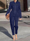 Solid Color Front Zipper Long Sleeve Jumpsuit For Women - Navy