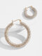 Alloy Ins Personalized Fashion C-shaped Circle All-match Diamond Temperament Earrings - #09