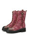 SOCOFY Natural Ginkgo Leaf Print Embossed Leather Comfy Wearable Casual Short Boots - Red
