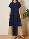 Contrast Color Patchwork O-neck Zip Short Sleeve Casual Dress - Navy