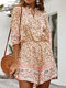 Floral Bohemian Print Tie-up Neck Button Front Holiday Romper - Pink