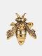 Vintage Three-dimensional Bee Earrings Temperament Metal Animal Shape Earrings - Gold