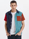 Mens Corduroy Multicolor Patchwork Casual Short Sleeve Shirt With Pocket - Blue