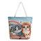Canvas Cute Cat Pattern Tote Handbag Shoulder Bag For Women