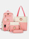 4 PCS Canvas Preppy Multifunction Combination Bag Tote Backpack Crossbody Clutch Wallet - Pink