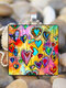 Vintage Square Glass Printed Women Necklaces Rose Flower Pendant Necklace Jewelry - #03
