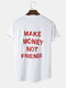 Mens Sport Style Slogan Back Print Curved Hem Cotton Short Sleeve T-Shirts - White