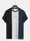 メンズブロックストライプパッチワーク刺繍ニット半袖プレッピーTシャツ - 黒