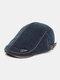 Collrown Men Knit Corduroy Flat Cap Padded Warm Beret Cap Casual Outdoor Visor Forward Hat - Blue