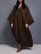 Casual Solid Color V-neck Bell Sleeve Maxi Dress - Brown