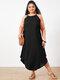 Summer Solid Color Spaghetti Straps Plus Size Maxi Dress - Black