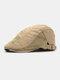 Men Cotton Letter Embroidery Mesh Breathable Adjustable Flat Hat Beret Hat Forward Hat - Khaki