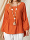 Solid Color Plain Asymmetrical Casual Long Sleeve Cotton Blouse - Orange