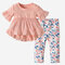 Girl's Ruffled Short Sleeves Tops+Flower Pants Casual Clothing Set For 1-7Y - Pink