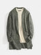 Mens Knitted Plain Long Sleeve Mid-Length Casual Sweater Cardigan With Pocket - Army Green