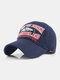 पुरुष कढ़ाई मछली और पत्र पैटर्न बेसबॉल कैप आउटडोर सनशेड समायोज्य टोपी - नौसेना