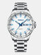 4 Colors Stainless Steel Men Vintage Watch Luminous Pointer Decorated Calendar Quartz Watch - Silver Band Silver Case White Di