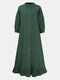 Solid Color Button Ruffled Neck Hem Long Sleeve Casual Dress For Women - Green