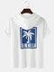 Mens Letter Coconut Tree Print Short Sleeve Hooded T-Shirt - White