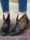 Casual Splicing Leopard Side Zipper Chunky Heel Cowboy Ankle Boots for Women - Black