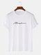 メンズレタースクリプトプリントカジュアル100%コットン半袖Tシャツ - 白い