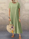 Casual Solid Color Button Plus Size Dress for Women - Green
