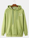 Mens Back Funny Face Letter Print Cotton Drawstring Hoodies With Pouch Pocket - Green