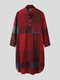 Mens Cotton Ethnic Gingham Kaftan Calf-Length Shirts Design Breathable Casual Robes - Red