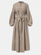 Ethnic Lace Patchwork Button Knotted Puff Sleeve Maxi Dress For Women - Khaki