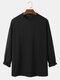 Mens Solid Color Texture Crew Neck Loose Long Sleeve T-Shirts - Black
