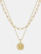 Luxury Layering Paperclip Chain Women Necklace 26 Initials Coin Pendant 14K Gold Plated Necklace Clavicle Chain - D