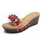 Beaded Rhinestone Transparent Casual Wedges Slide Sandals - Red