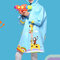 Toddler Girls and Boys Cartoon Colorful Hooded Thicken EVA Raincoat For 3-15Y - Blue