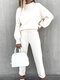 Solid Color Long Sleeve O-neck Elastic Waist Sport Suit For Women - White