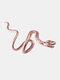 Alloy Vintage Snake-shape Animal Ear Clip Earrings - Rose