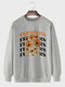 Mens Floral Letter Print Crew Neck Cotton Street Pullover Sweatshirts - Gray