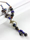 Ceramic Alloy Copper Long Sweater Chain Necklace Wild Pendant Necklace - Black