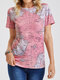 Short Sleeve Map Print O-neck Casual T-Shirt For Women - Pink