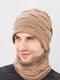 男性2 / 3PCSPlusベルベット暖かく冬の首の保護ヘッドギアスカーフフルフィンガーグローブニット帽ビーニー - #05