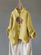 Vintage Embroideried Portrait Long Sleeve Casual Blouse - Yellow