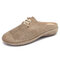 LOSTISY Comfy Suede Breathable Hollow Lace Up Front Backless Flats for Women - Khaki