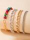 Punk Colorful Gravel Cuban Link Chain Metal Bracelet Set - Gold